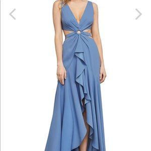 BCBG blue cut out gown